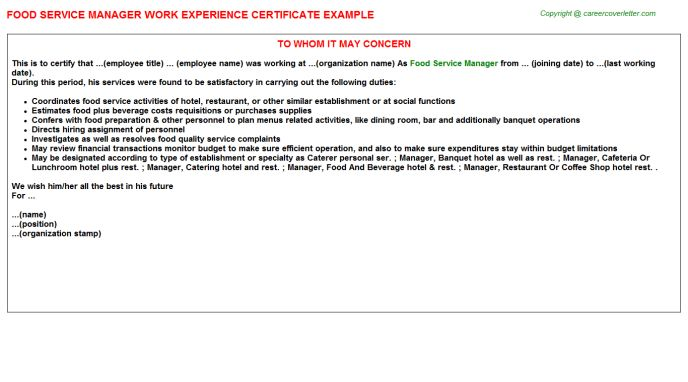 Food Service Manager Work Experience Certificate