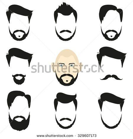 Face Blank Templates Hairstyles Beards Hipster Stock Illustration ...