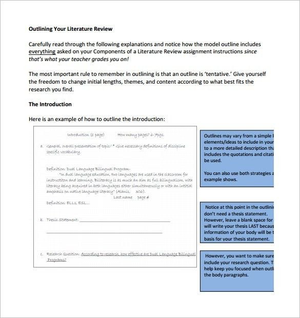 6+ Literature Review Outline Templates – Free Word, PDF Documents ...