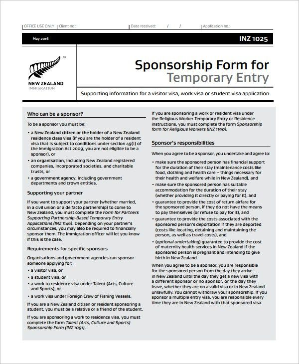Sample Sponsorship Form - 9+ Documents in Word, PDF
