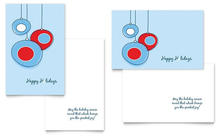 Holiday Ornament Balls Greeting Card Template - Word & Publisher