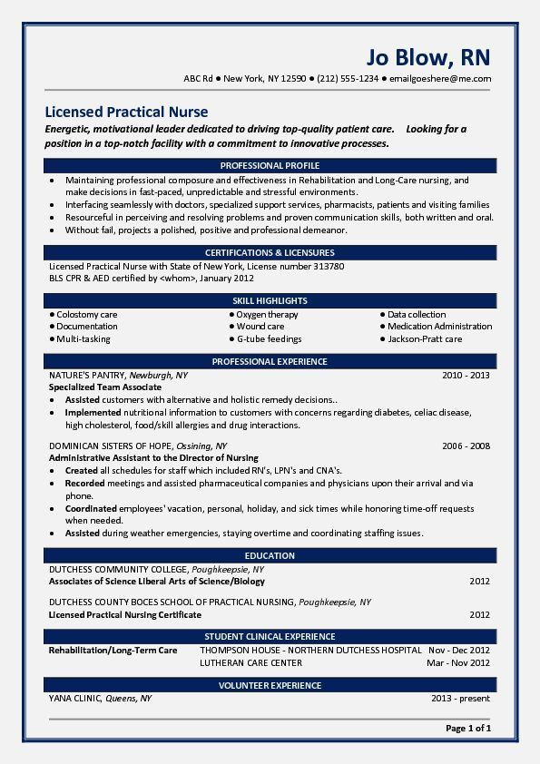 Perfect Sample Nursing Resumes For A New Grad – Resume Template ...