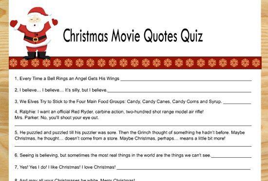Printable Christmas Movie Quotes Quiz