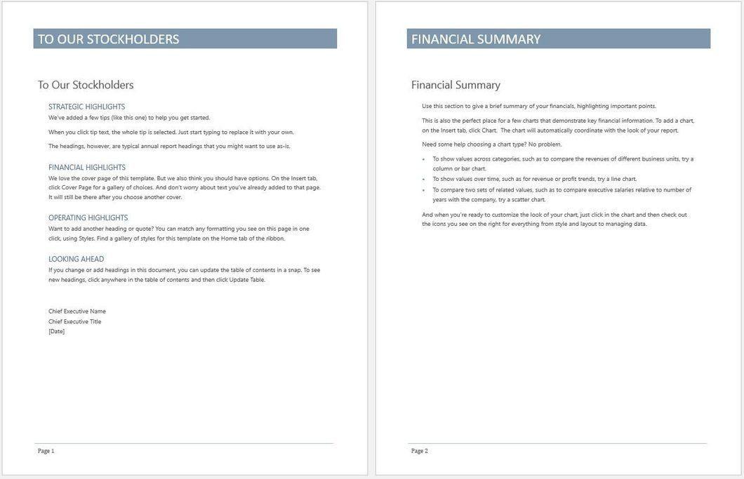 Business Annual Report Template – Clickstarters