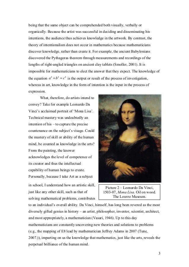 TOK - Theory of knowledge essay (what counts as knowledge in the arts)