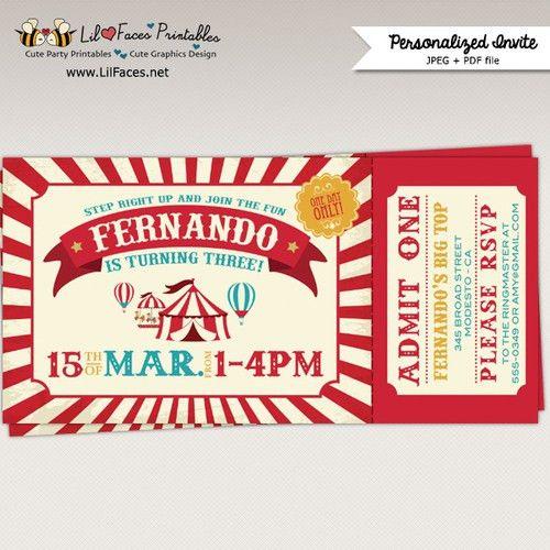 Vintage Circus Birthday Party Ticket Invitation - Printable Invitation