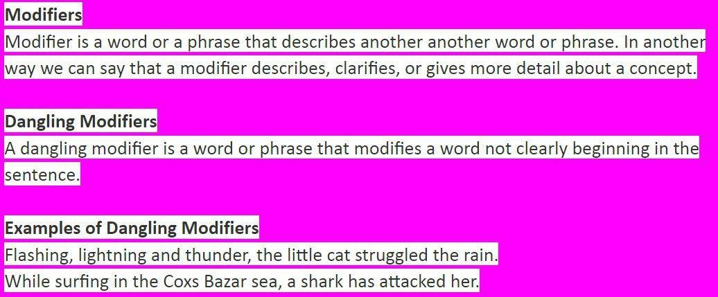 Dangling Modifiers - English Grammar Blog