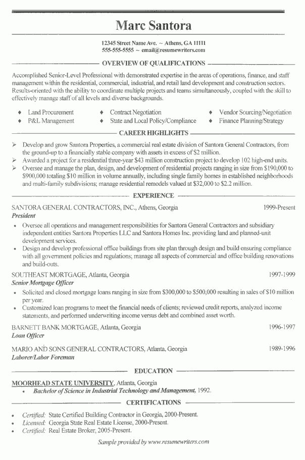 Construction Resume Example: General Contractor Sample Resumes