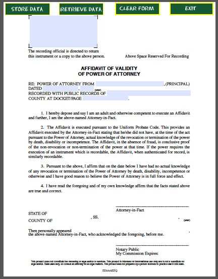 Affidavit of Validity of Power of Attorney | Official Templates ...