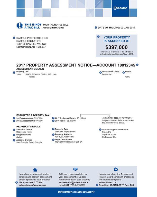 Your Assessment Notice :: City of Edmonton