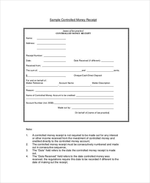 Sample Receipt - 41+ Examples in PDF, Word