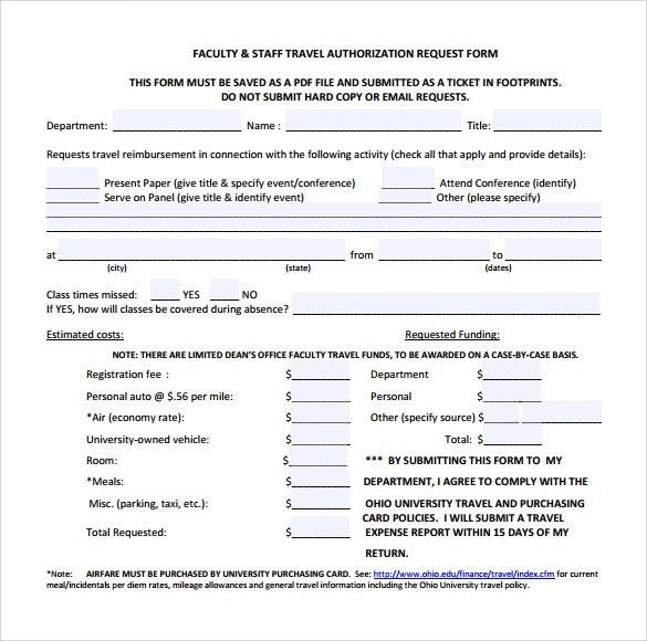 Sample Travel Authorization Form - 8+ Download Free Documents in ...