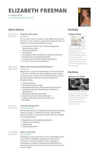 Property Manager Resume samples - VisualCV resume samples database