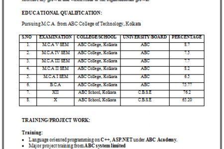 Good resume format for mca freshers   Algebra problems solving for ...
