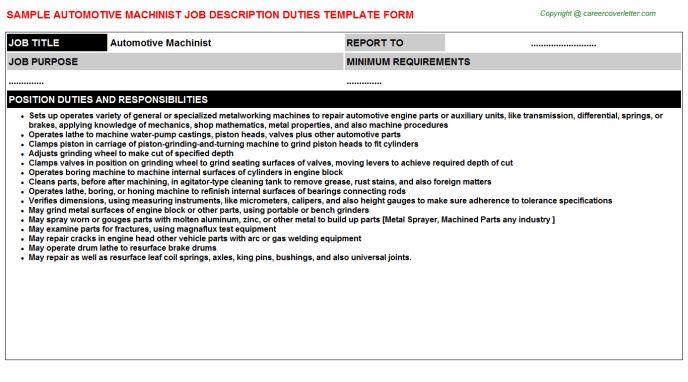 Automotive Machinist Job Descriptions