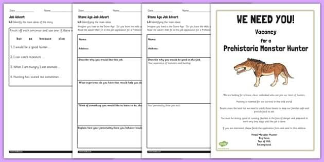 Stone Age Job Advert Worksheets to Support Teaching on Ug - ug