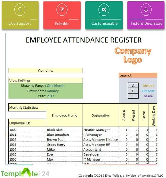 Daily Employee Attendance Sheet in Excel 2017 | Template124
