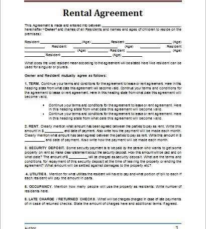 rental agreement template | Document Hub