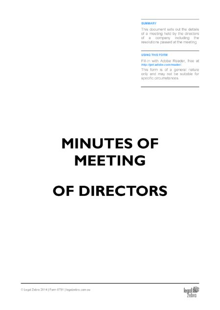 Minutes of Meeting of Directors Template | Free Sample | Download ...