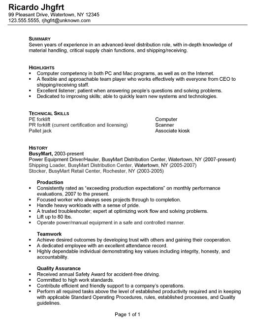 Resume for a Distribution/Warehouse Worker - Susan Ireland Resumes