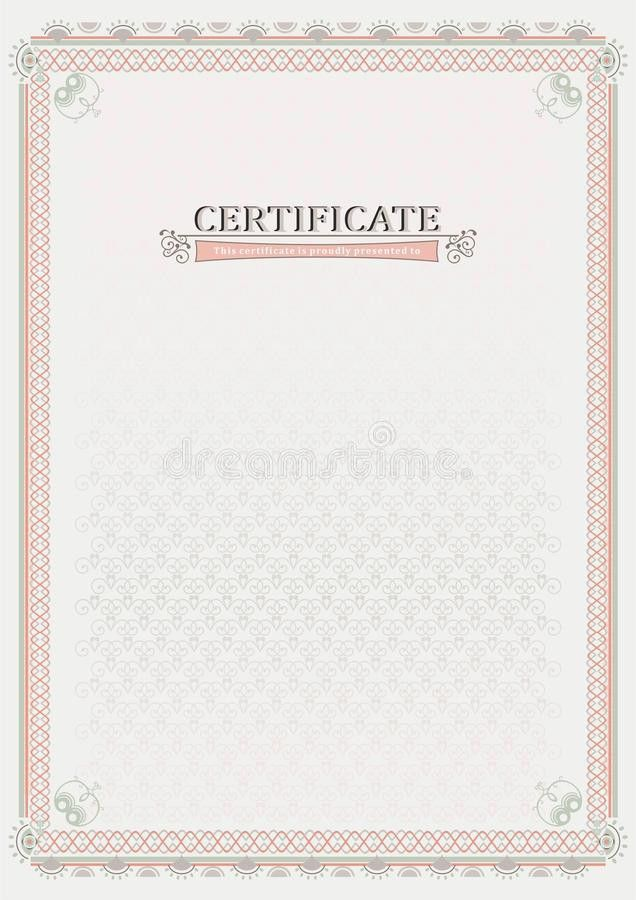 Pink Official Certificate. Document Stock Vector - Image: 47395532