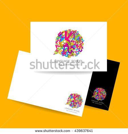 Concept Business Card Design Language School Stock Vector ...