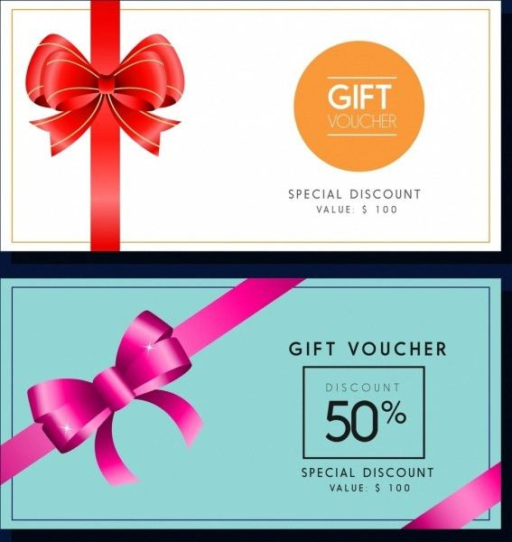Gift voucher templates colored ribbon decoration Free vector in ...