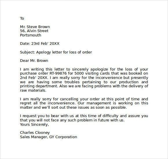 Apology Letter To School. Apology Letter For Poor Customer Service ...