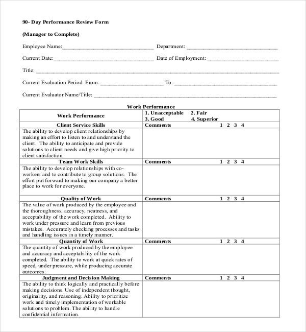 13+ Sample Employee Review Forms | Sample Forms
