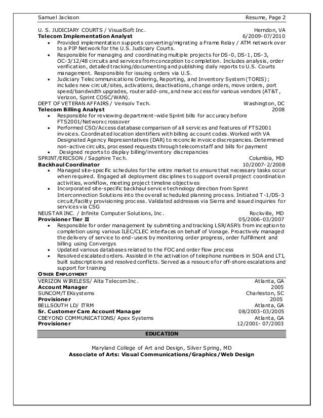 Sample Resume - Telecom