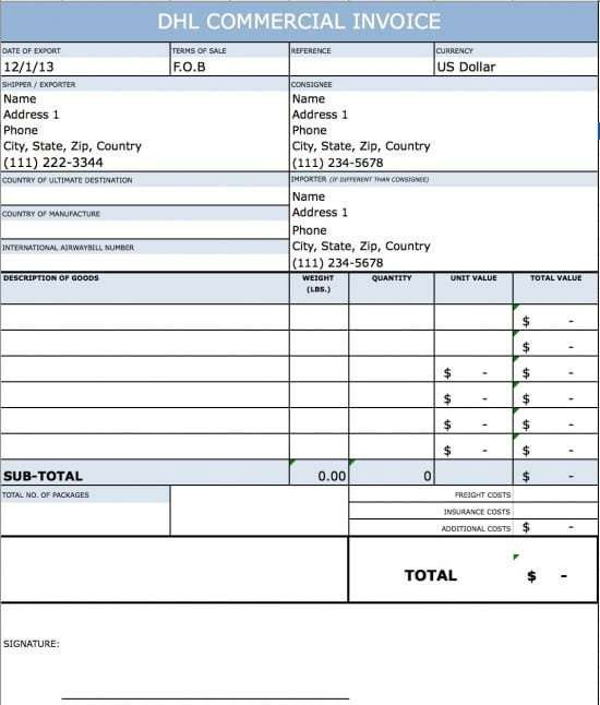 Free DHL Commercial Invoice Template | Excel | PDF | Word (.doc)