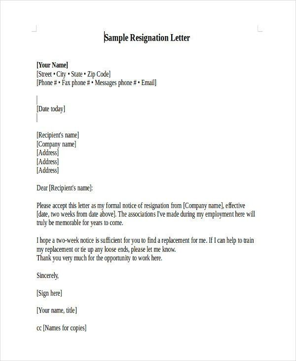 Heartfelt Resignation Letter Template - 7+ Free Word, PDF Format ...