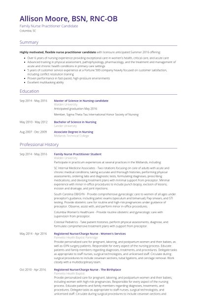 family nurse practitioner resume samples visualcv resume samples - Nurse Practitioner Resume Samples