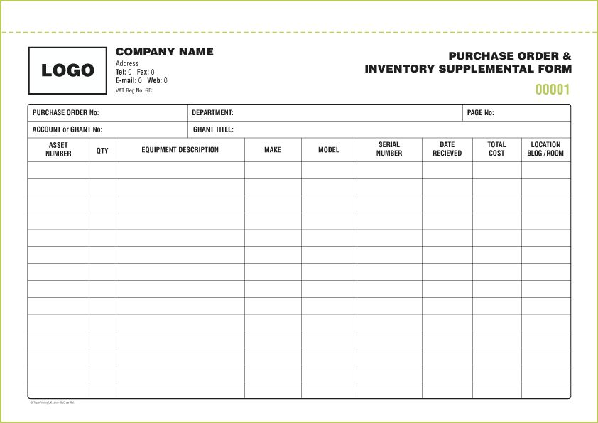 STOCK INVENTORY FORMS from £50 | FREE Inventory Form Template ...