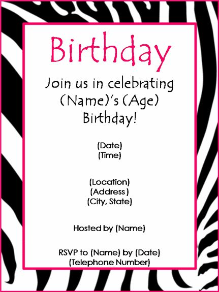 birthday party invitation templates word