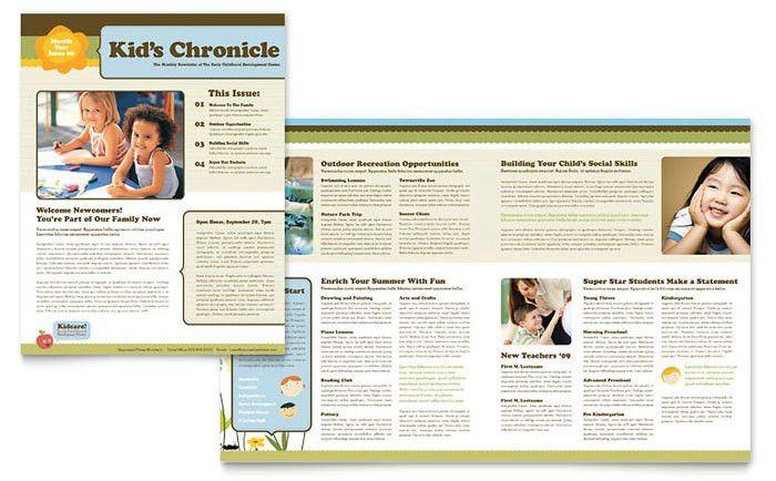 Child Development School Newsletter Template Design