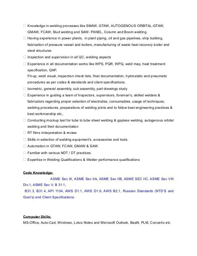 Welding Engineer Resume TP