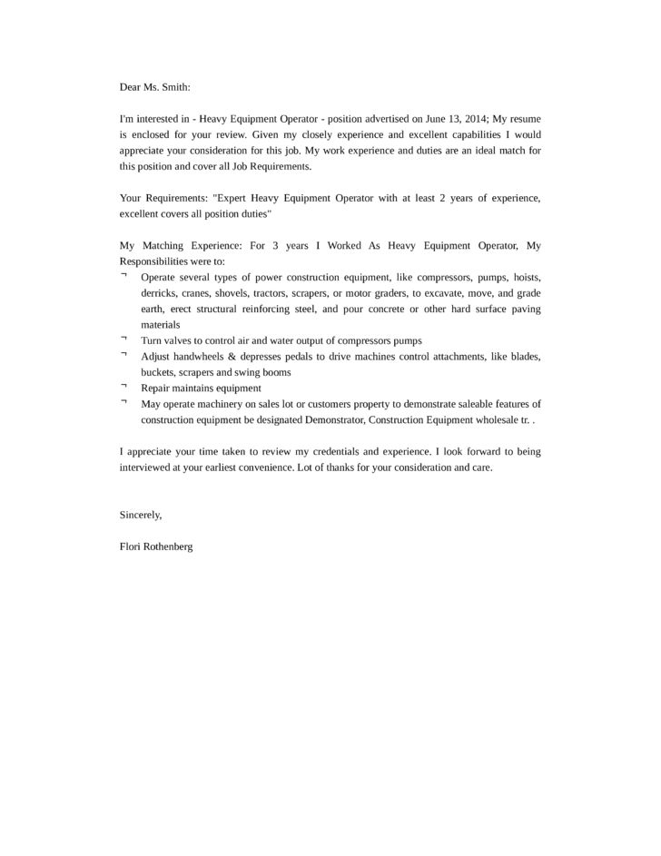 Basic Heavy Equipment Operator Cover Letter Samples and Templates