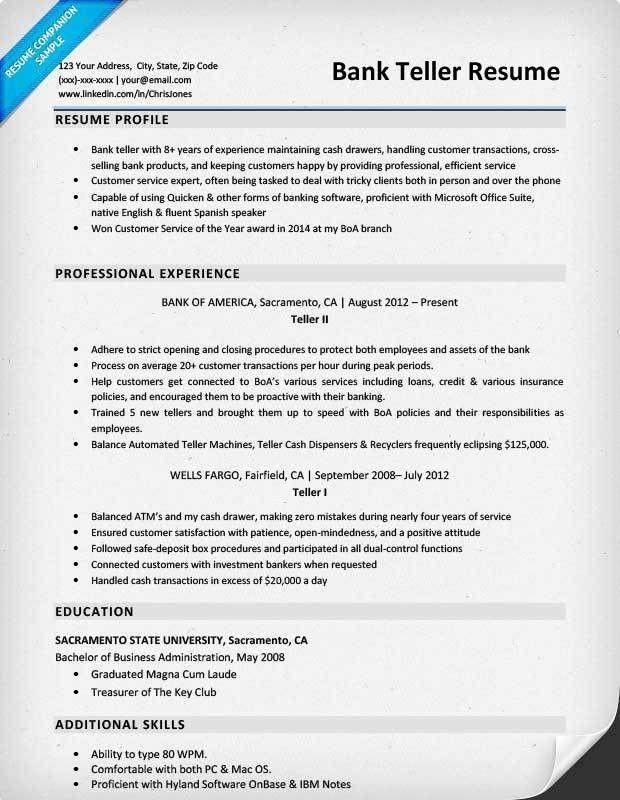 bank teller resume. sample teller resume resume template skills ...
