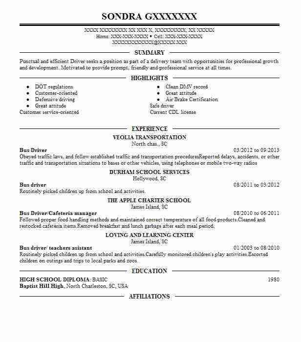 Best Bus Driver Resume Example | LiveCareer
