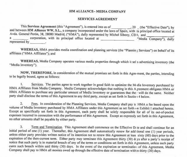 Havas and Vendors Dispute Purpose of Contract Template | Agency ...