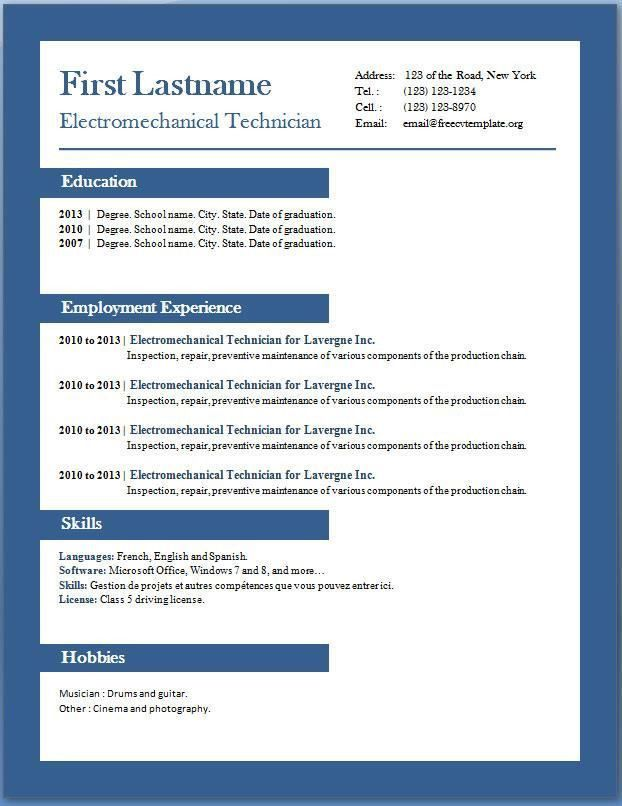 resume templates microsoft office and resume on pinterest free ...
