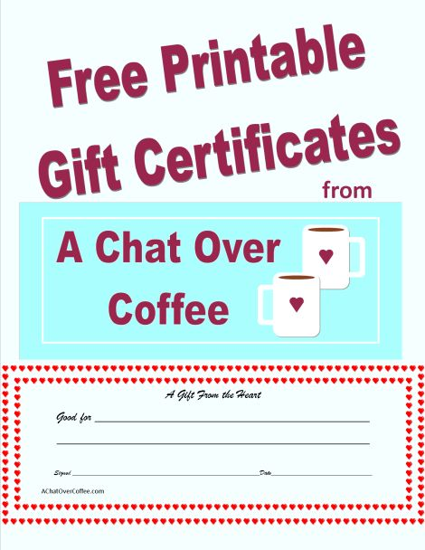 Free Printable Valentine's Day Gift Certificates | A Chat Over Coffee