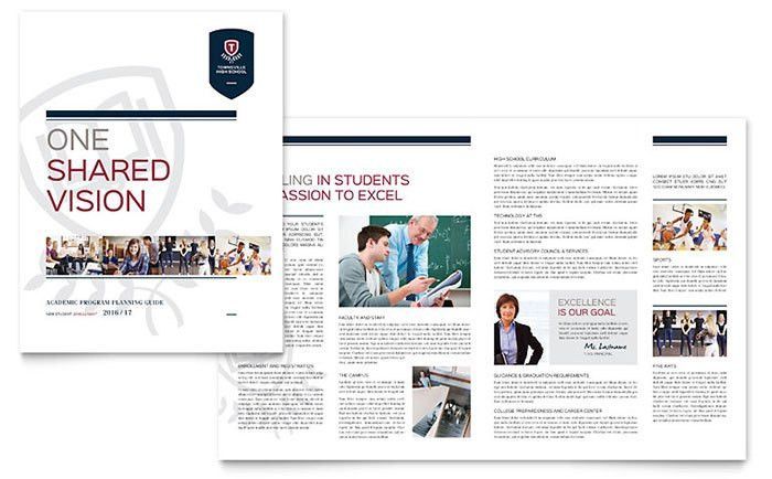 High School Brochure Template Design