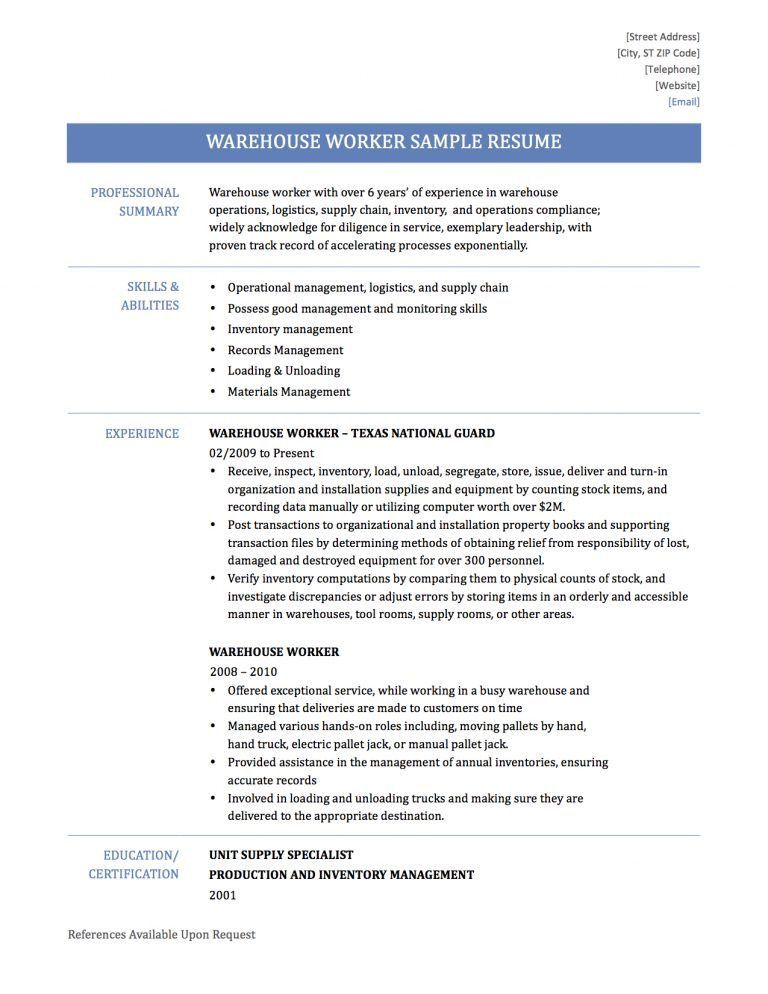 warehouse worker resume samples warehouse worker resume sample