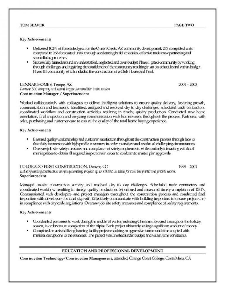 Astounding Construction Project Manager Resume 9 Project Manager ...