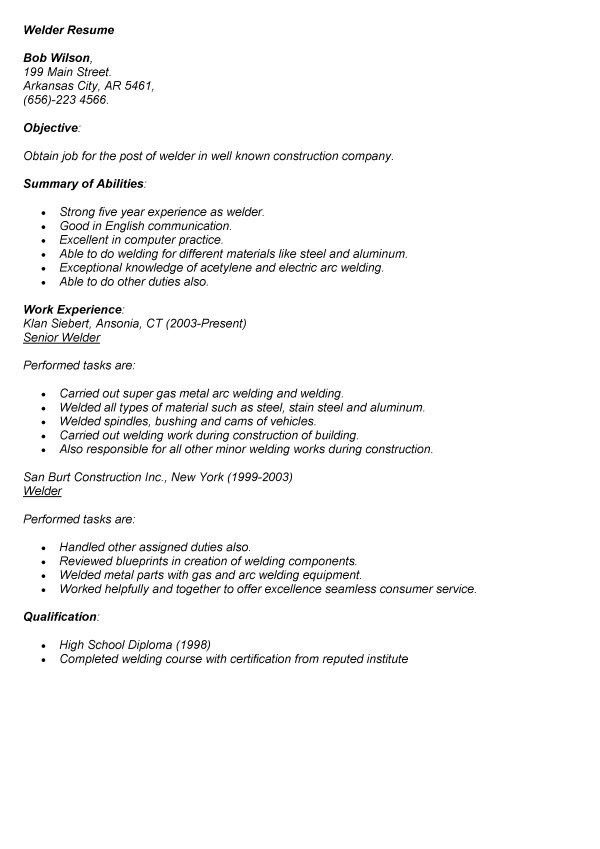 Welder Resume Summary - Corpedo.com