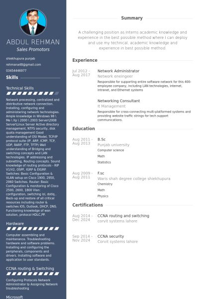 Network Administrator Resume samples - VisualCV resume samples ...