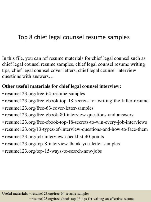 sample general counsel resume counsel resume example general