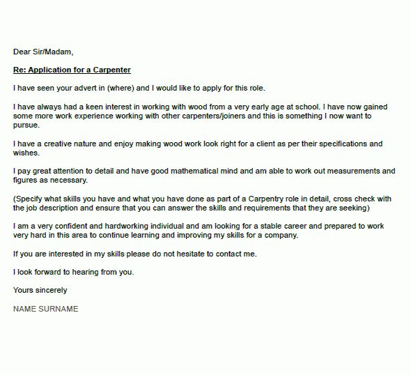 application letter for cabinet maker carpenter cover letter example icoverorguk